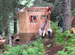 Stick frame construction method, Seldovia, Alaska