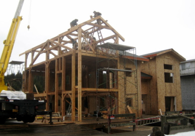 Timber Frame construction project, Seldovia Slough, Alaska